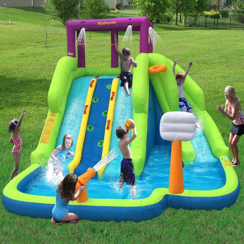 Inflatable Water Park Triple Slide Outdoor Kids Fun Bouncy ...