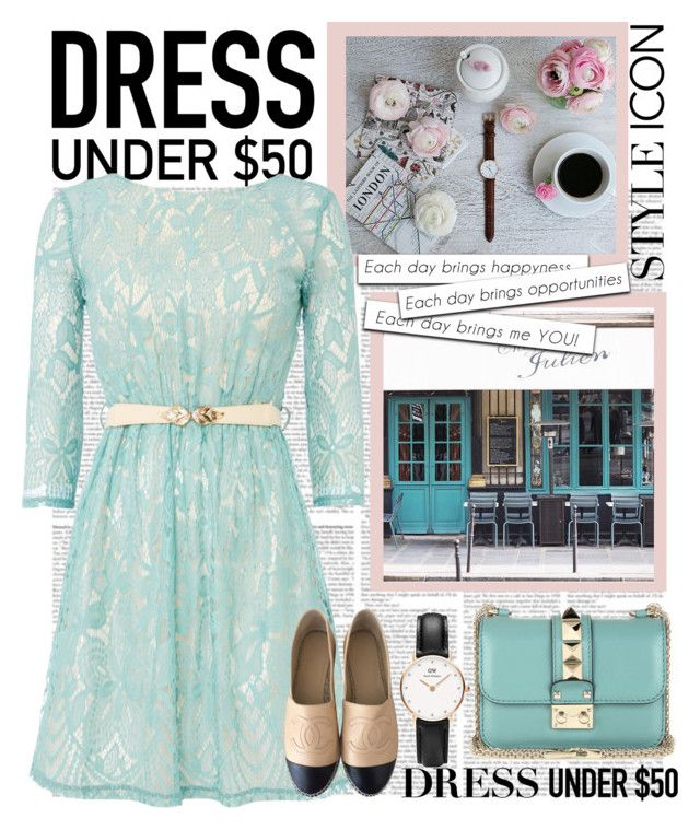 """Dress under $50"" by daniela2205 on Polyvore featuring Little Mistress, Chanel, Valentino and Daniel Wellington"
