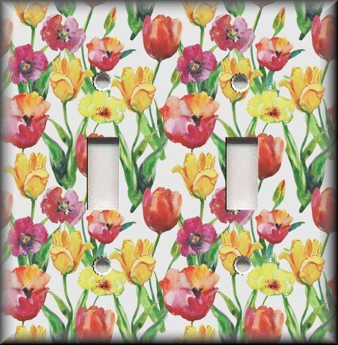 Red Yellow Tulip Flowers - Light Switch Plate Cover - Tulips Home Decor Floral #LunaGallerySwitchPlates