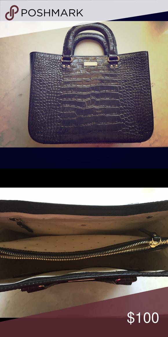 Kate Spade Crocodile Handbag Dark Gray Embossed By Near Perfect Condition