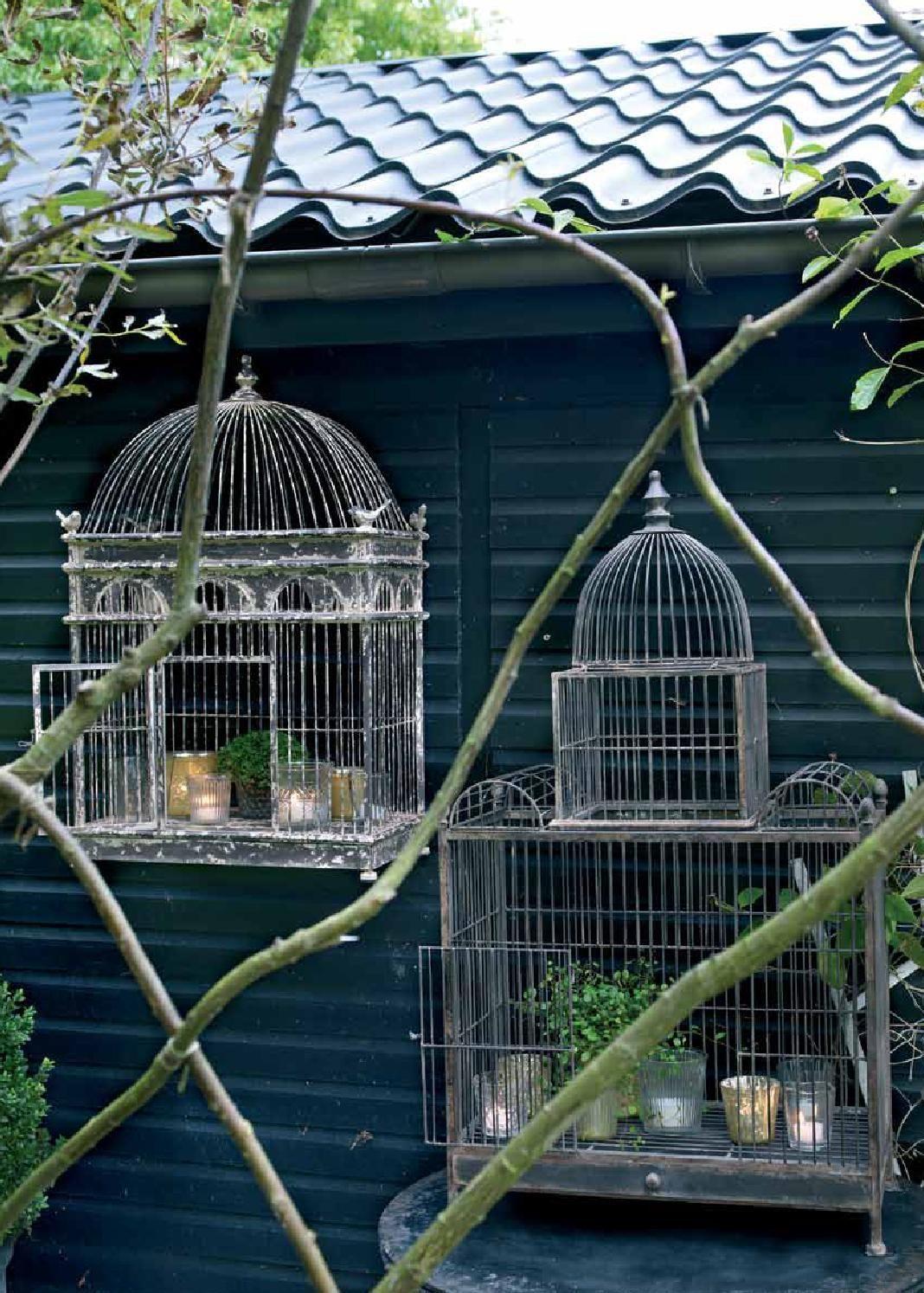 Ancient shabby birdcage ~ birdhouse ~ birdcage ~ fil de fer ~ vintage shabby decoration ~ hy5538