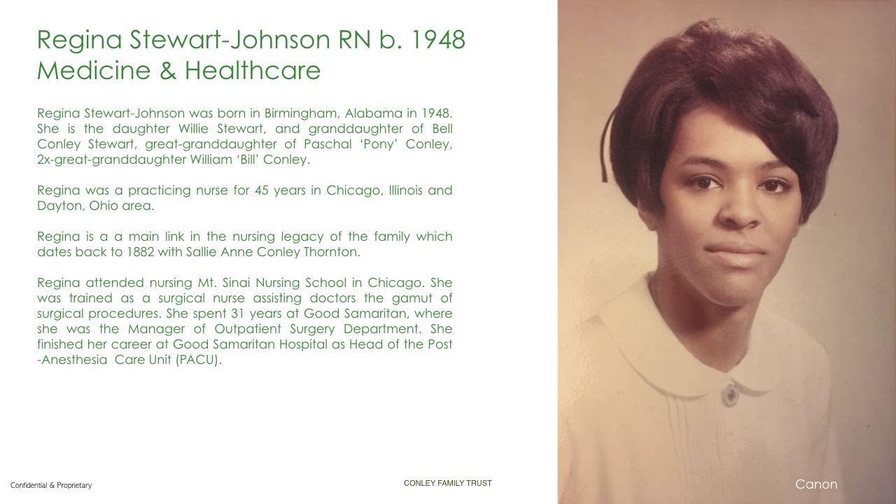 Regina Stewart Johnson RN in 2020 Conley, Medical