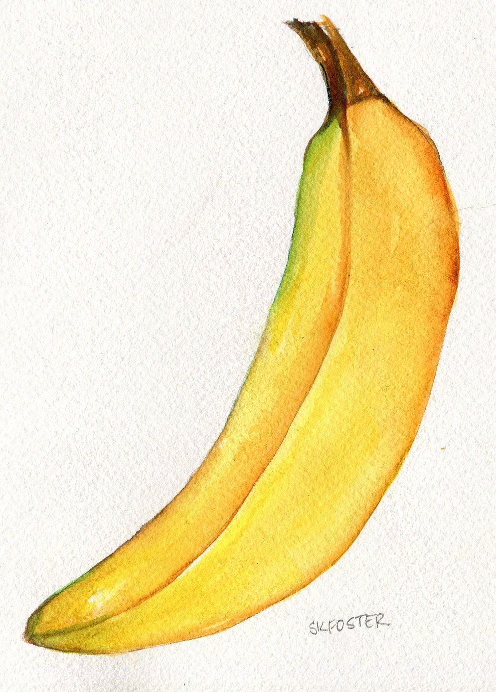 Banana watercolor painting original 5 x 7 Banana Illustration ...