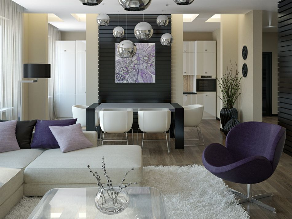 Modern Studio Design Ideas : Purple White Living Room Diner Also White Rug  And Cool Pendant Lamp For Studio Design Ideas