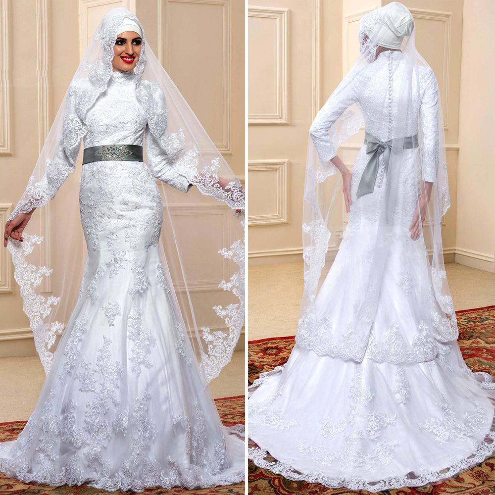 Love the 2016 vintage white satin lace muslim wedding for Muslim wedding dress photo