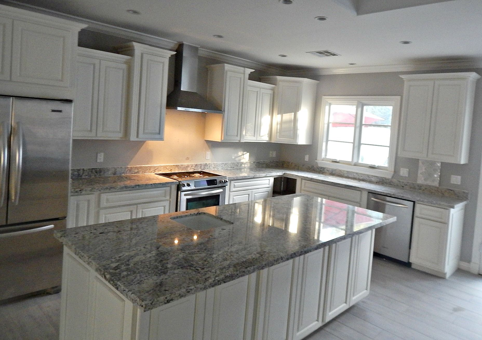 Delightful White Ice Granite Countertop Remodel With Flat Polish Edge. (602) 358 8888