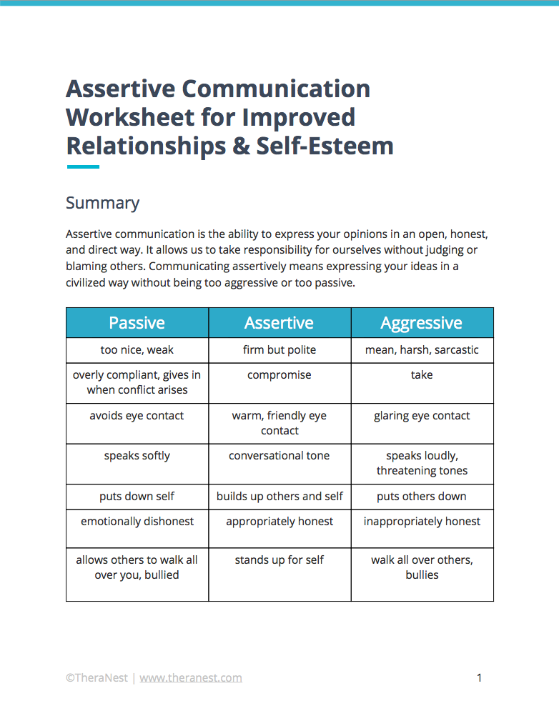 Assertive Communication Worksheet Self Esteem Worksheets