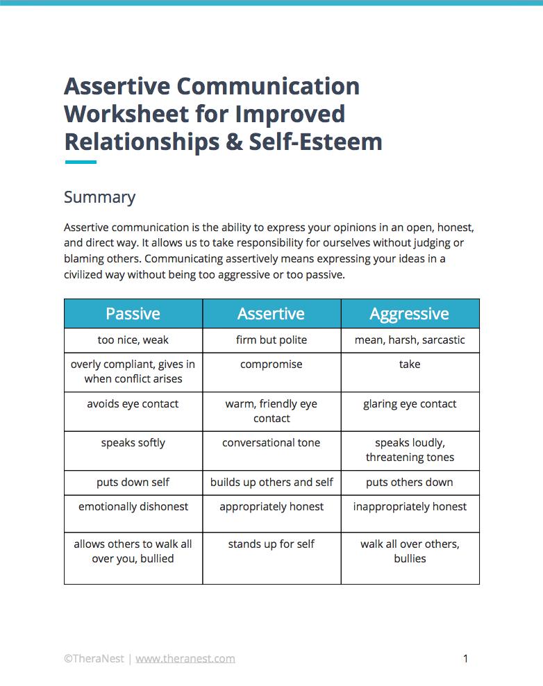 Assertive Communication Worksheet   Self Esteem Worksheets ...