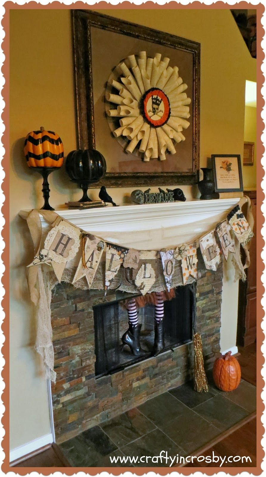 skeleton, book page wreath, fireplace witch, Halloween Decorations - Witch Decorations For Halloween