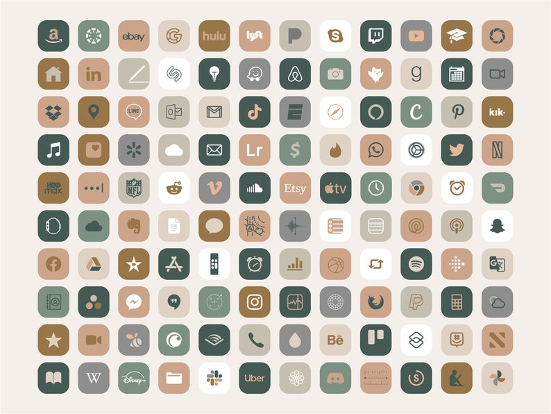 Bohemian IPhone iOS 14 App icons Theme Pack, Cream