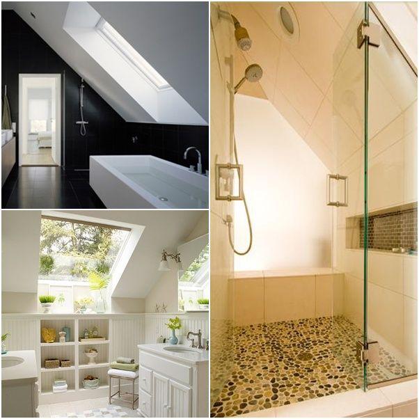 Wunderbar In Einem Badezimmer Mit Dachschräge Sind Die Wände Oft Geneigt, Was Eine  Klaustrophobische Atmosphäre Ins Bad Einfügt. Mit Guten Design Ideen Können  Sie