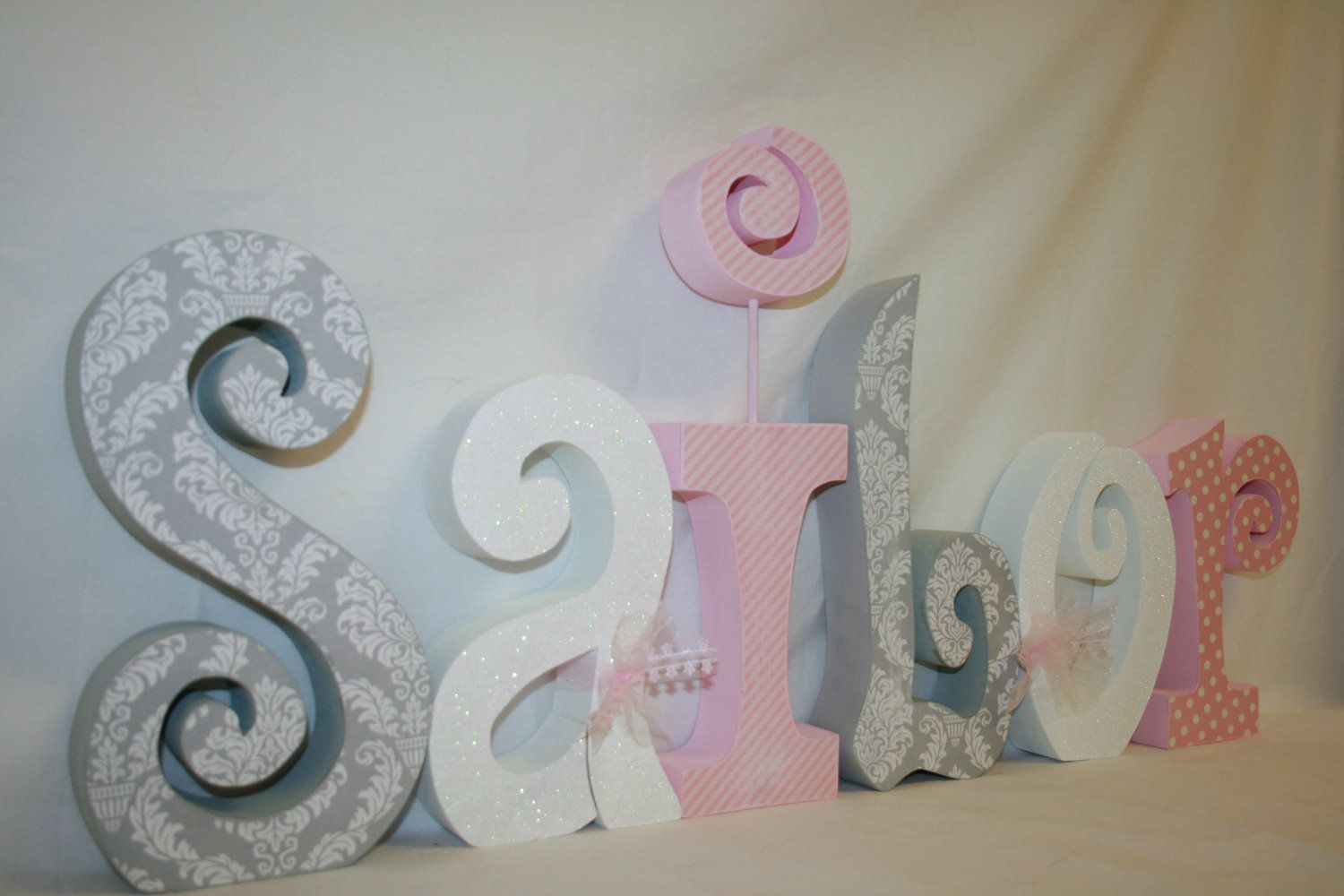 Baby Wooden Letters Pink And Gray Damask Room Decor Name Nursery