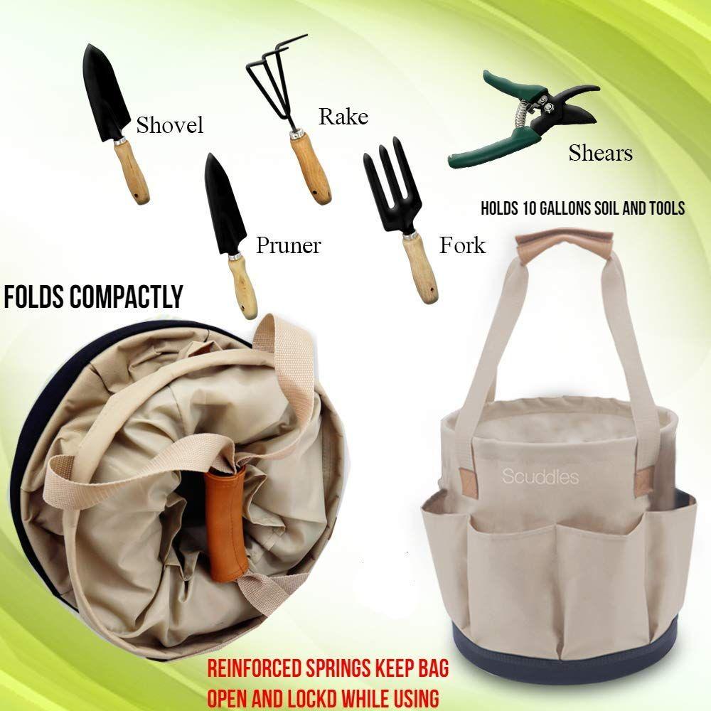 Hudkan Scuddles Garden Tools 10 Gallon Collapsible Gardening Bag