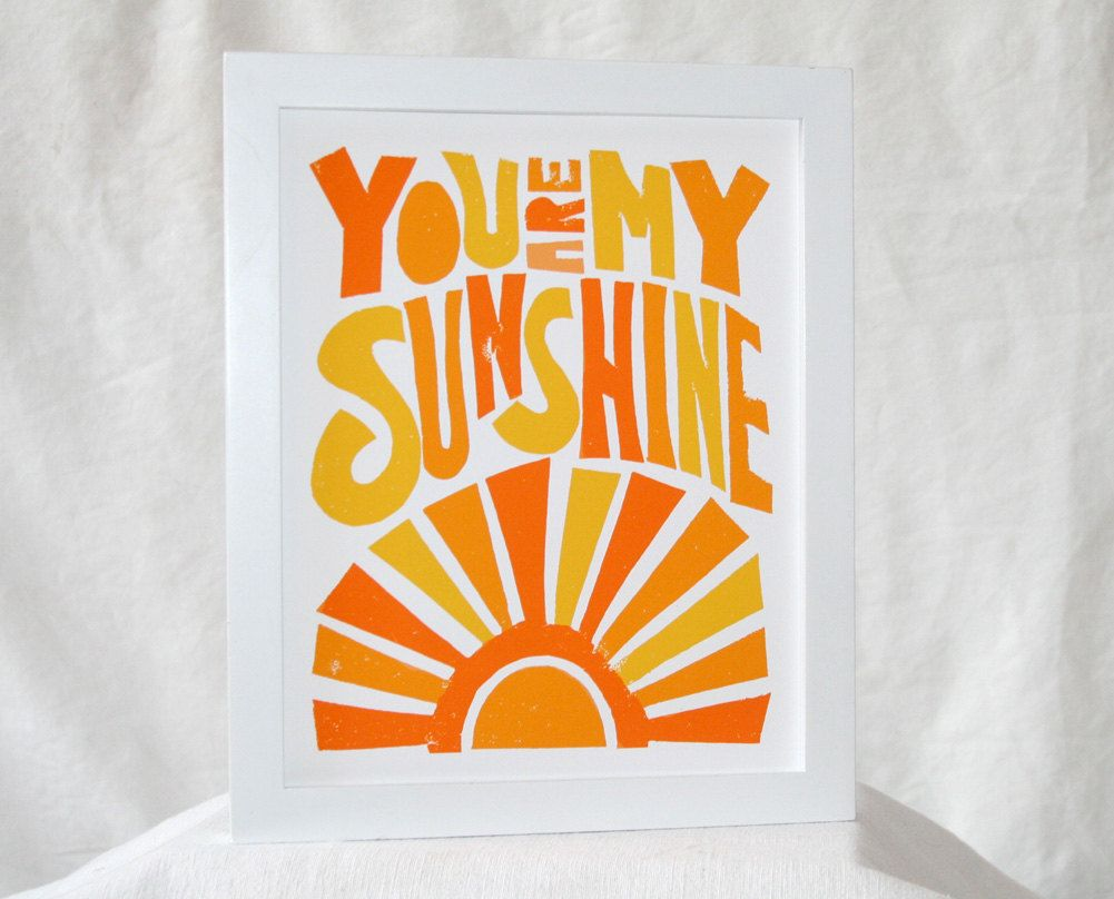 You are my Sunshine Baby Nursery Etsy: Wall Art, Typography, Sunshine Sign, Home Decor, childrens room art, wall art
