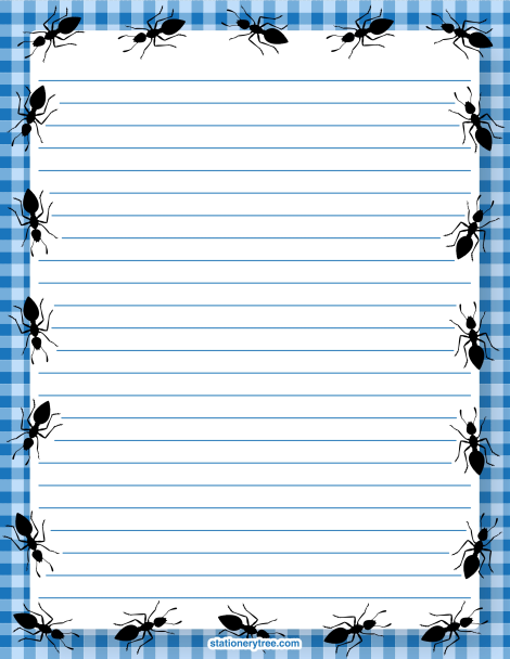Printable ant stationery and writing paper. Free PDF downloads at http://stationerytree.com/download/ant-stationery/.