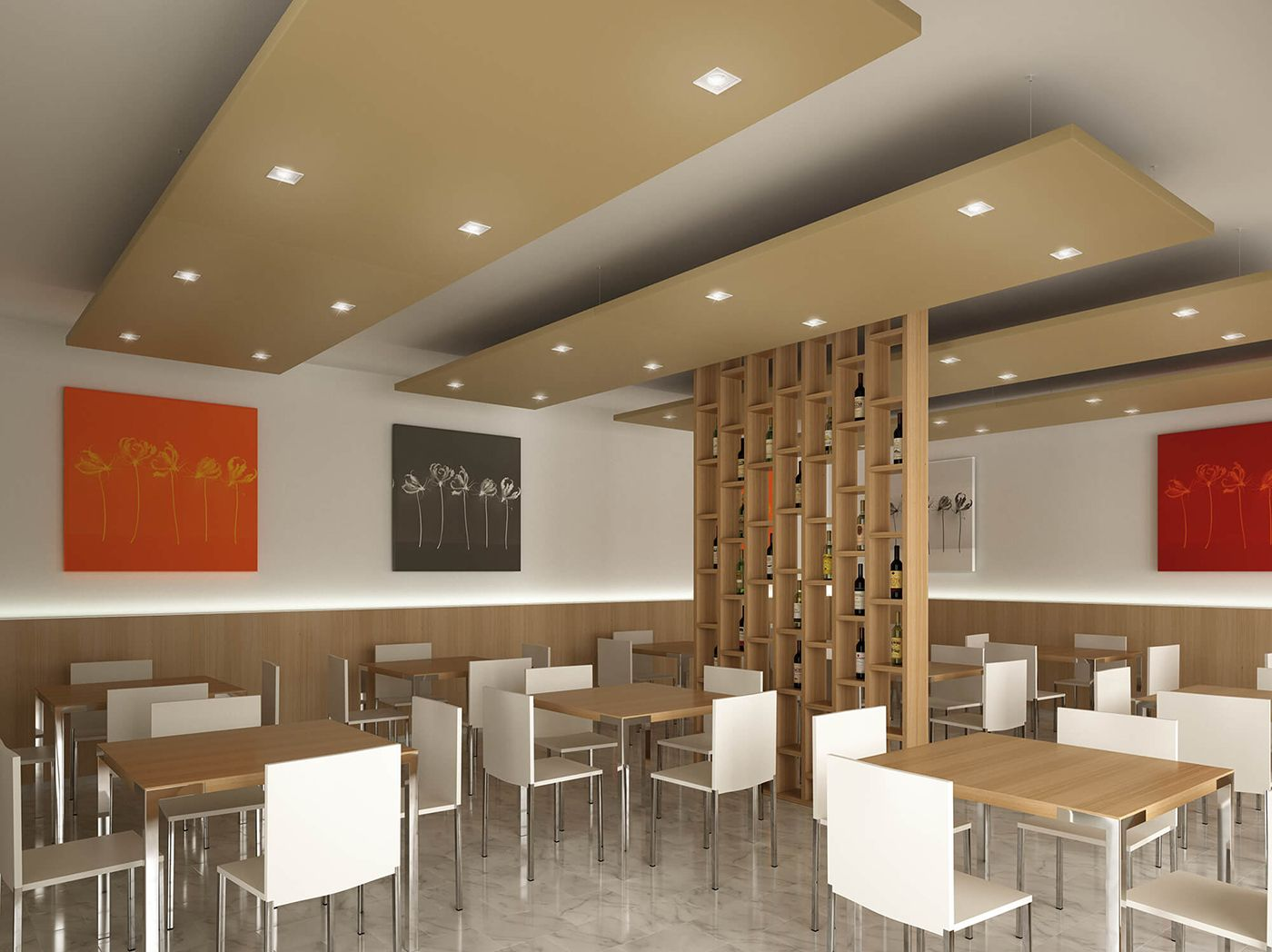 Restaurant Acoustic Comfort Nuvola Sound Absorbing Panels