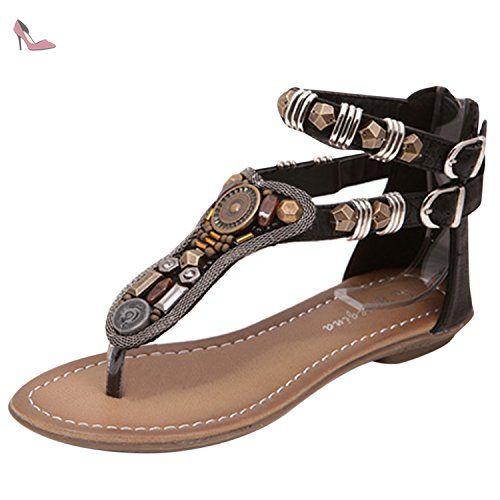 Oasap Women's Rational Style Open Toe Rivet Flat Thong Sandals, Black  EURO36/US5/