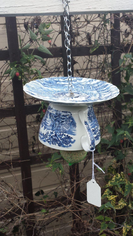 Teacup bird feeder, vintage bird feeder, gift for her