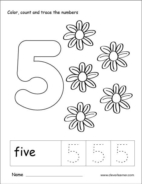 Number 5 tracing and colouring worksheet for kindergarten ...
