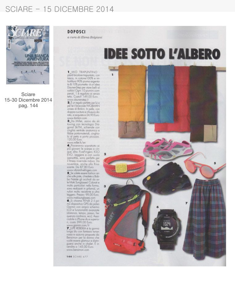 Sciare del 15 Dicembre 2014 parla dei bracciali Birikini della collezione #woman come idea regalo  www.ibirikini.com - info@ibirikini.com