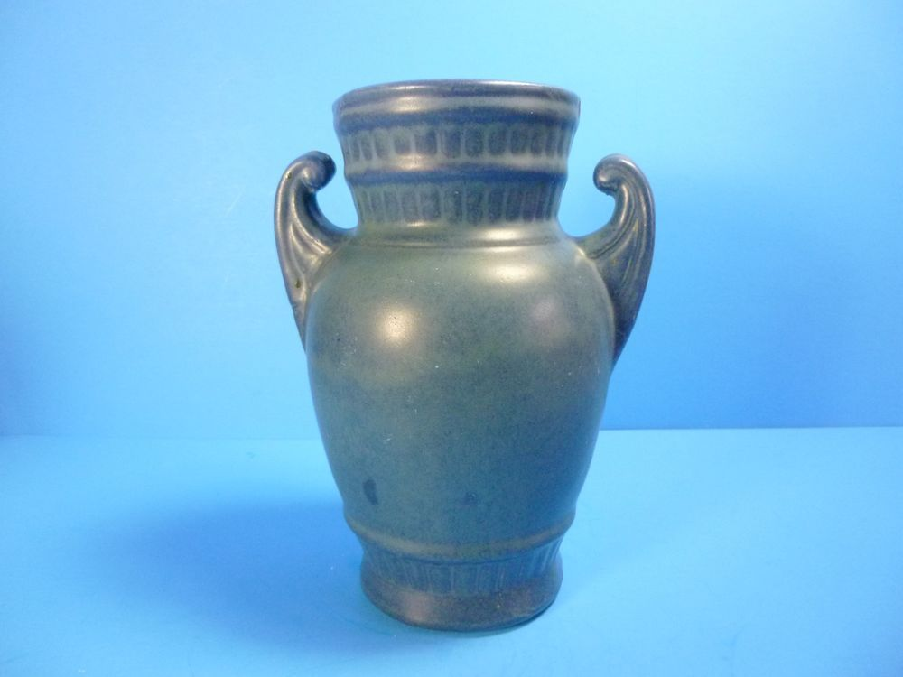 Rare Antique Cobalt Blue Stoneware Vase With Handles 8tall Rare