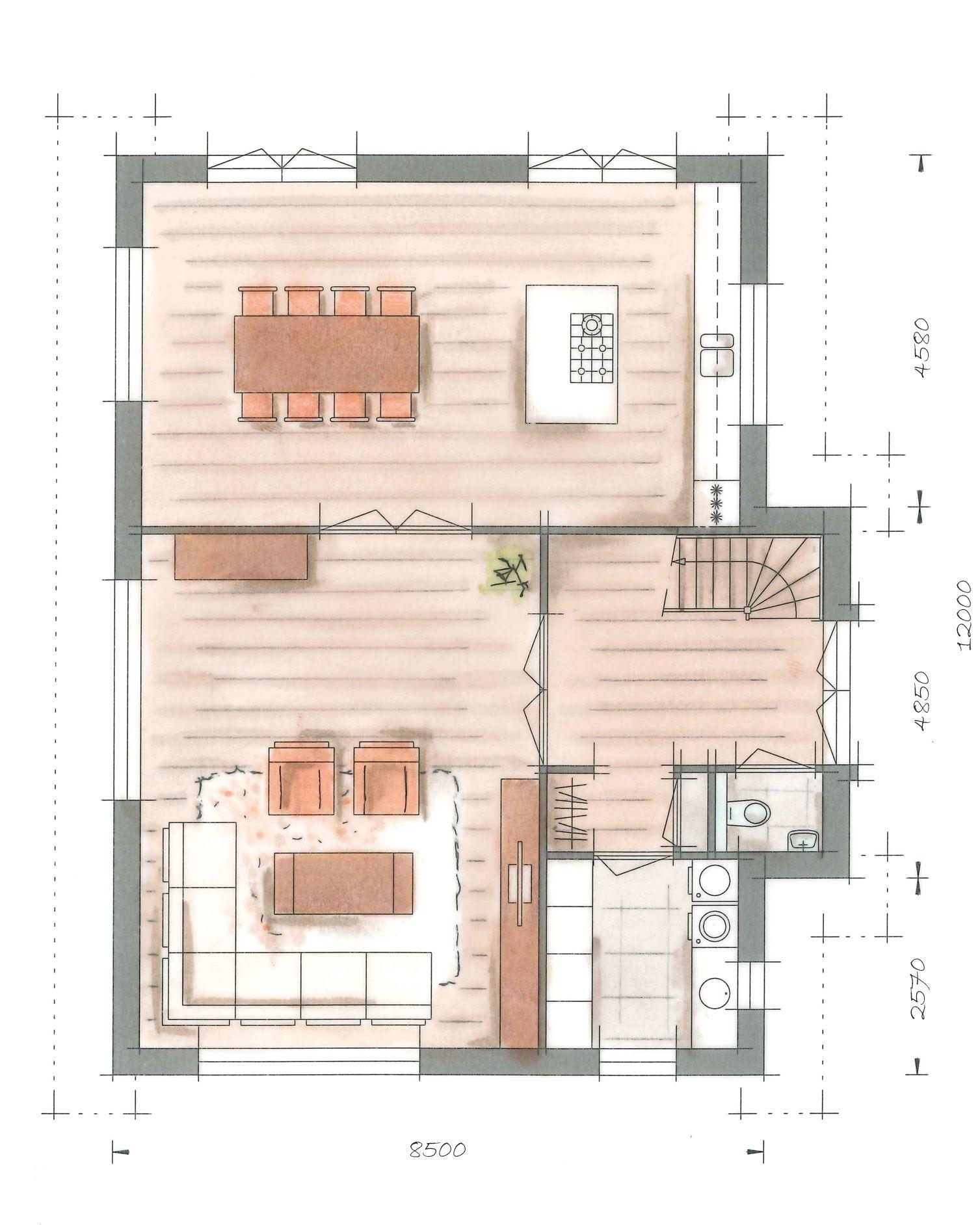 Villa groot koolwitje plattegrond begane grond notaris for Trap tekenen plattegrond