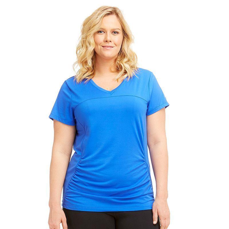 c44d528772e7f Plus Size Marika Curves Elizabeth Shirred Workout Tee