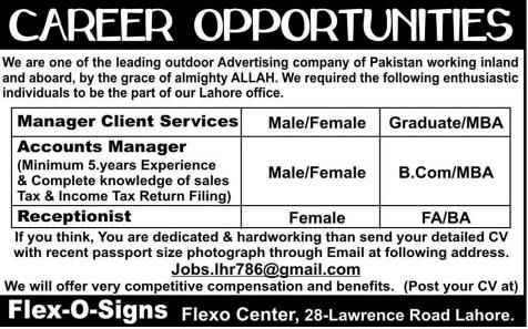 Accounts Manager Receptionist Jobs In Lahore Accounts Manager