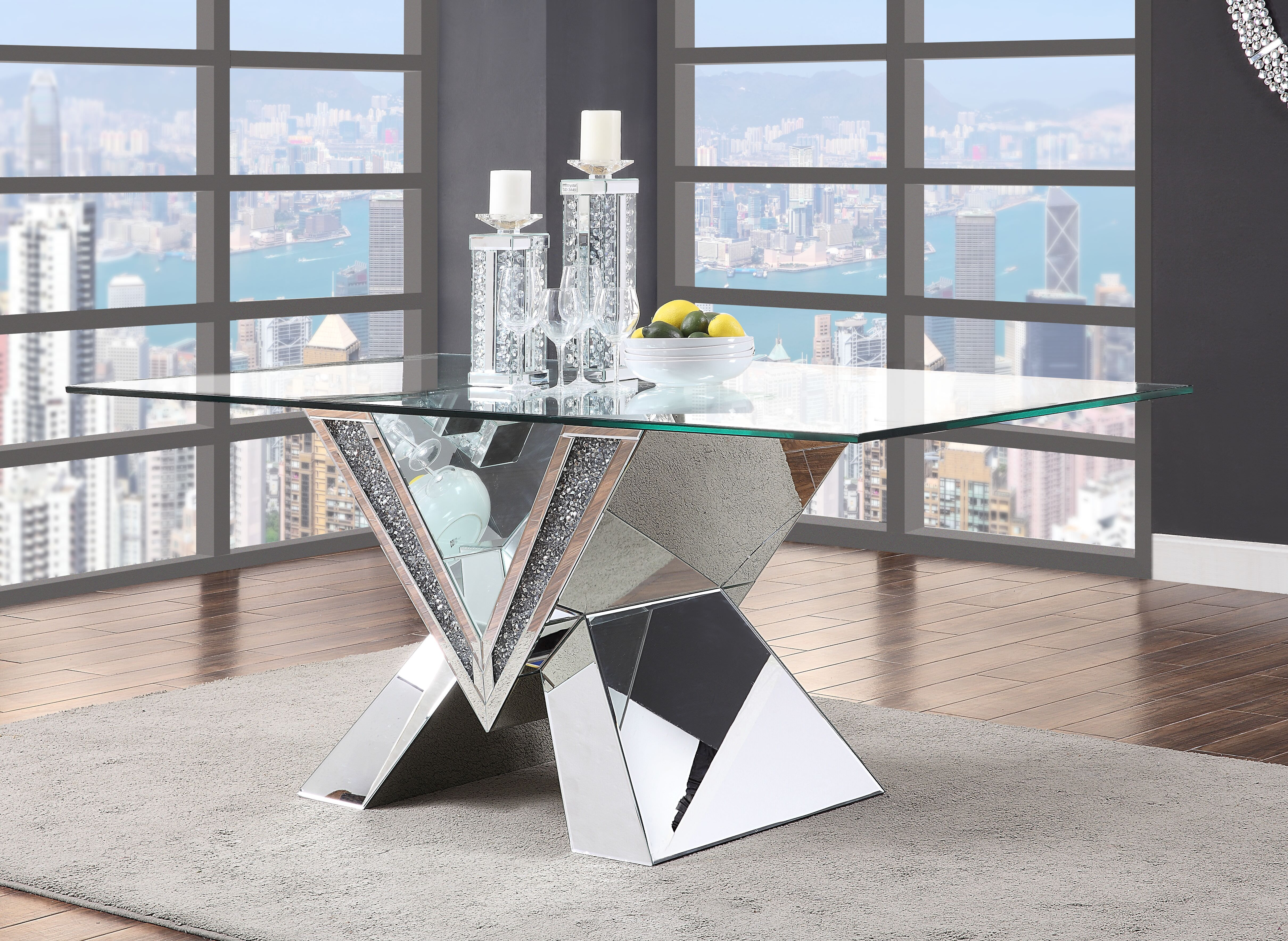 Acme Noralie Dining Table In Mirrored In Faux Diamonds Clear Glass Walmart Com Dining Table Rectangular Dining Table Mirrored Furniture