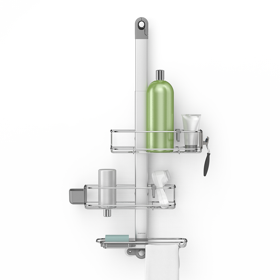 Adjustable shower caddy stainless steel + anodized
