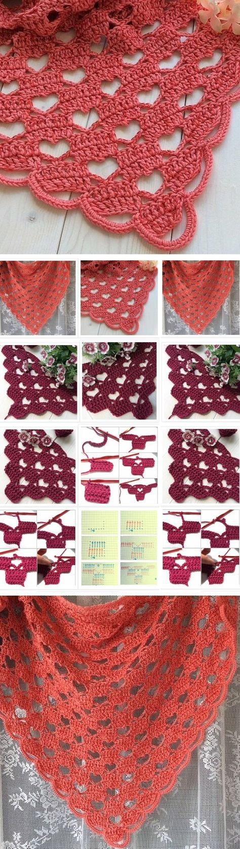 Crochet Beautiful Shawl (Sashay Yarn   Pinterest   Muster, Häkeln ...