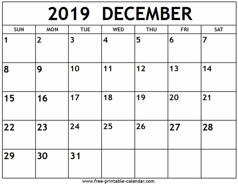 December 2019 Calendar Free Printable Calendar Com Printable