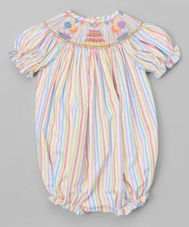Look what I found on #zulily! Blue & Yellow Birthday Cake Bubble Romper - Infant #zulilyfinds
