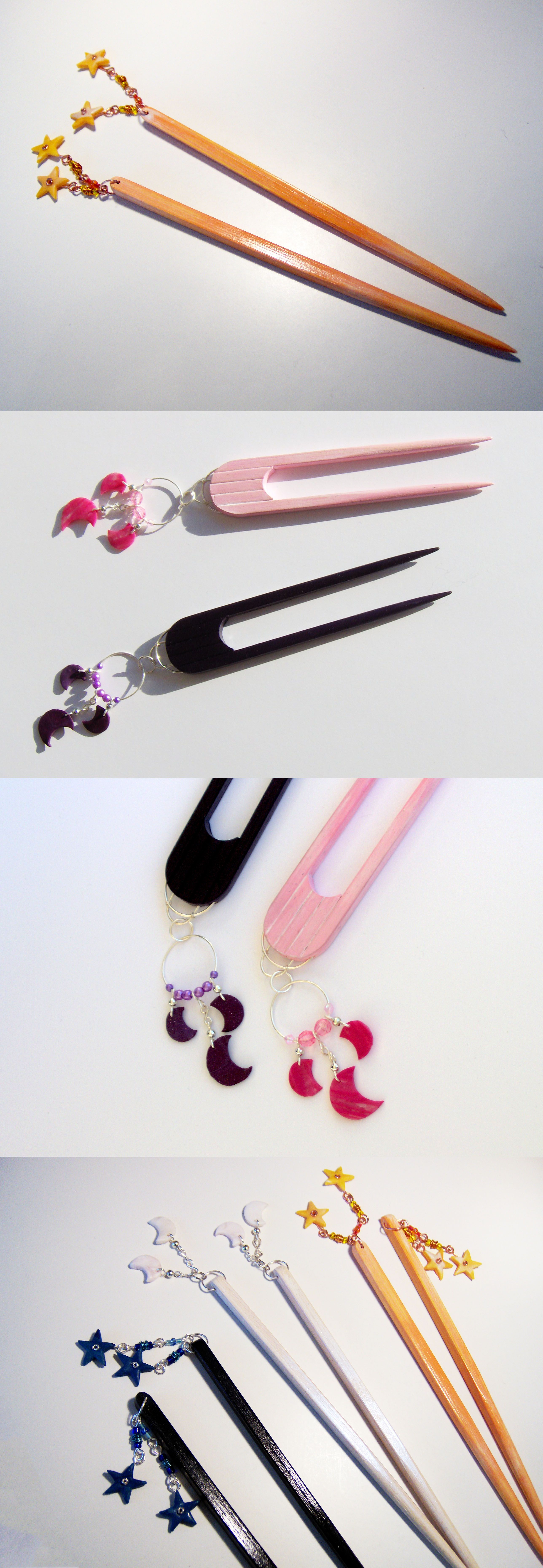 Chopstick Hairsticks With Polymer Clay Moon Or Star