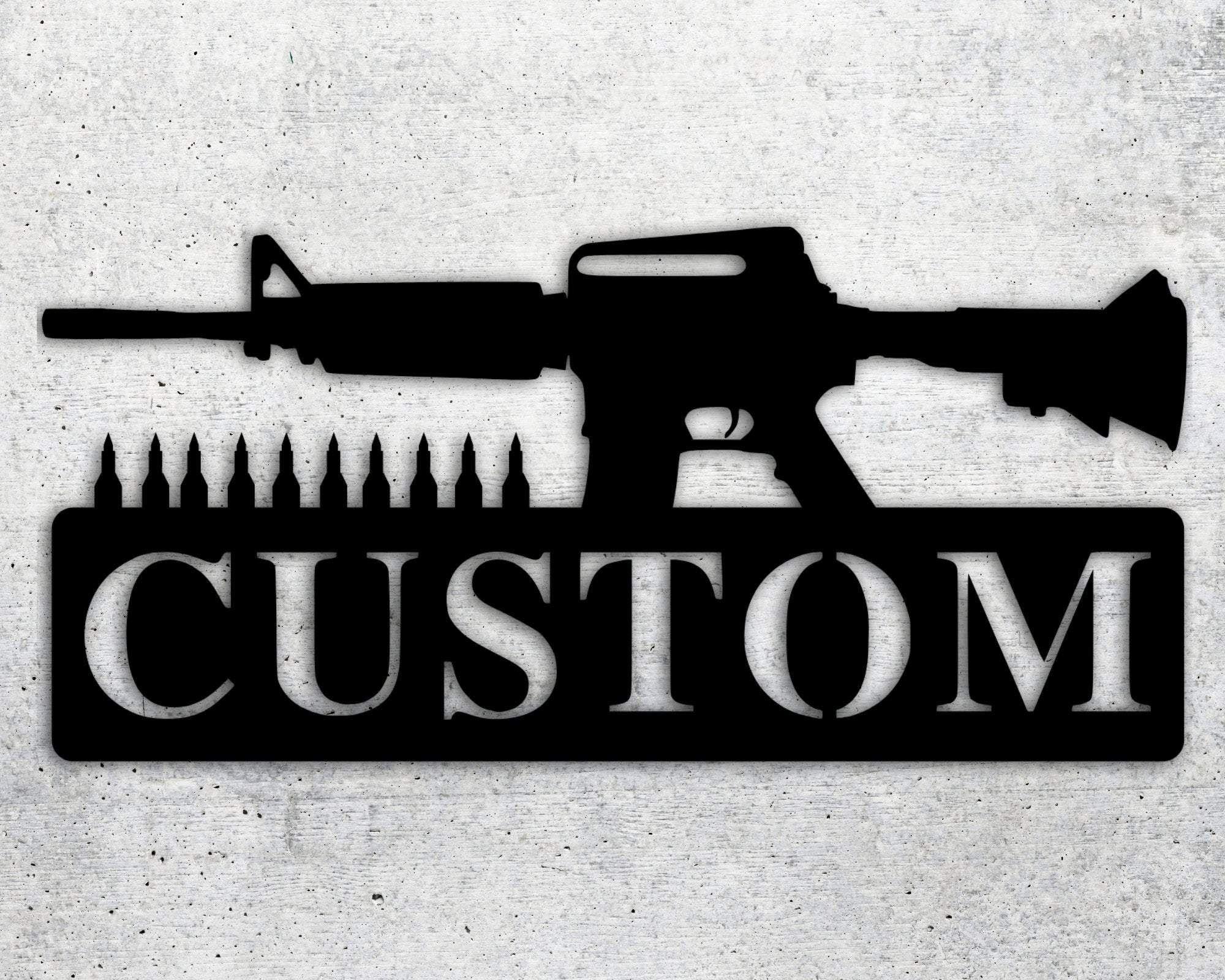 AR-15 Gun Custom Sign - Silver / 14