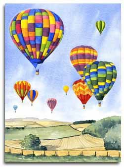 Print Of Watercolour Painting Of Hot Air Balloons By Artist Lesley