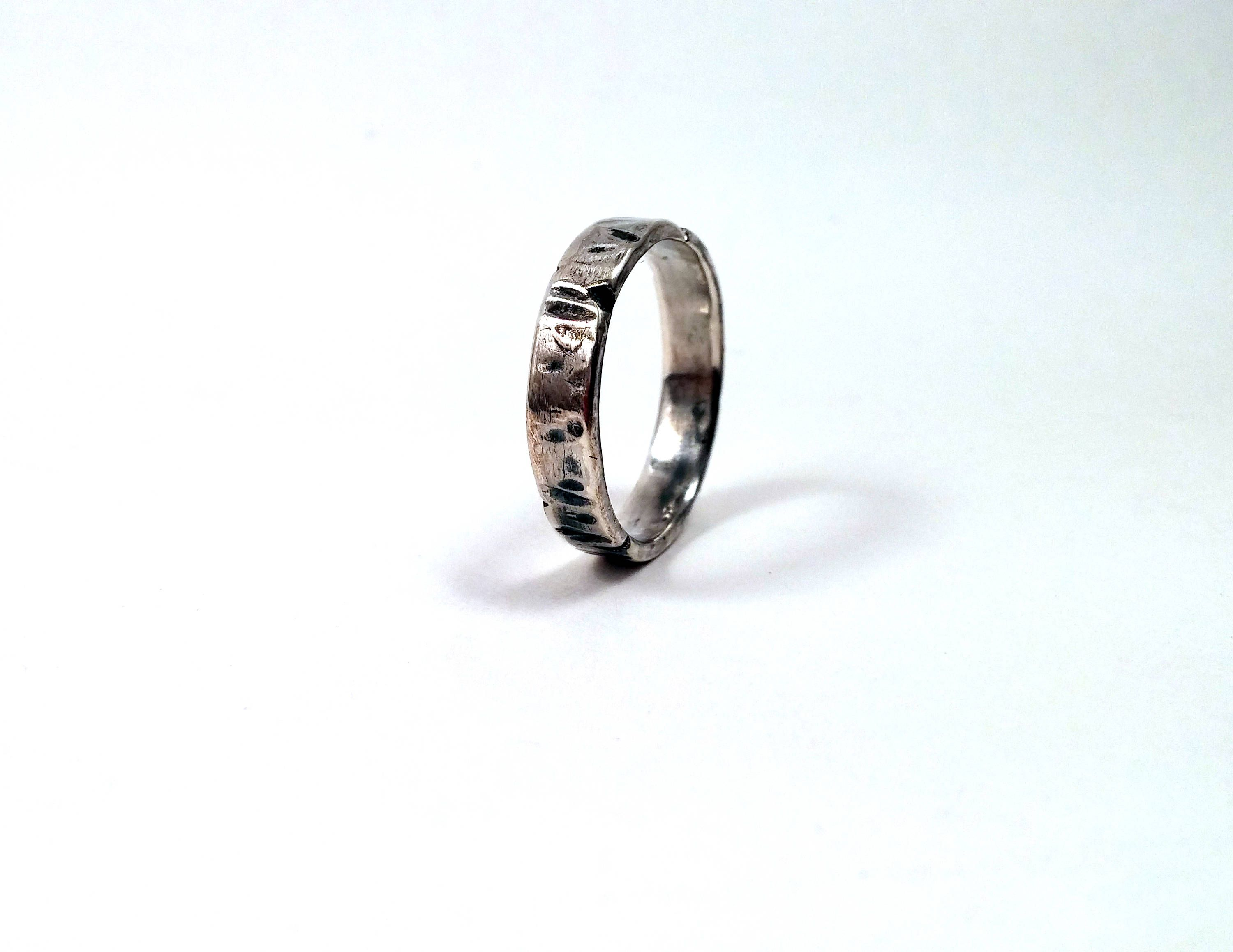 Rugged Solid Sterling Silver Slim Distressed Ring / Viking