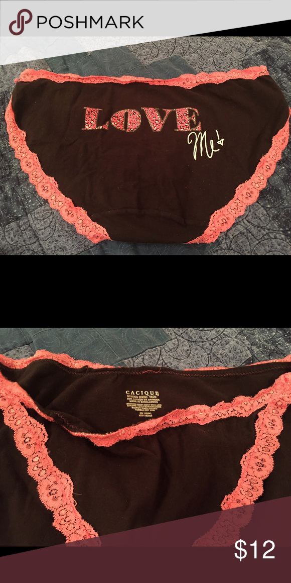 1efad4eca333 Cacique Black Bikini Panties with Hot Pink Lace NWOT Cacique black bikini  panty with hot pink lace and Love Me across the back. Size 18/20.