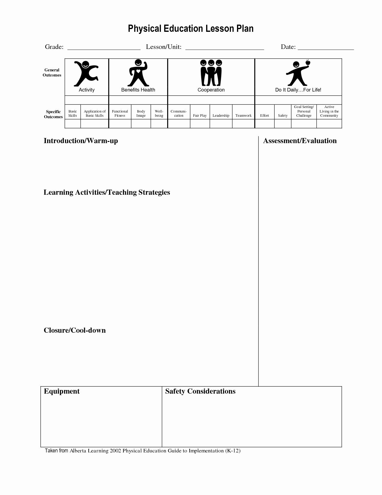 25 Pe Lesson Plan Template In