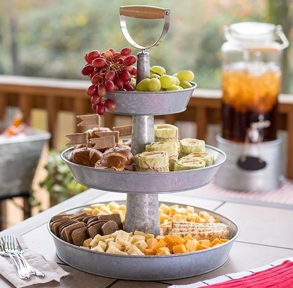 Triple Tier Galvanized Steel Serving Stand Fruit Beverages 4 Colors Wood Handle Food Serving Trays Serving Stand Safe Food
