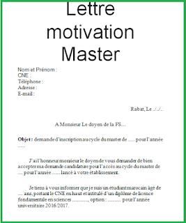 Exemple Lettre De Motivation Pour Une Formation Master