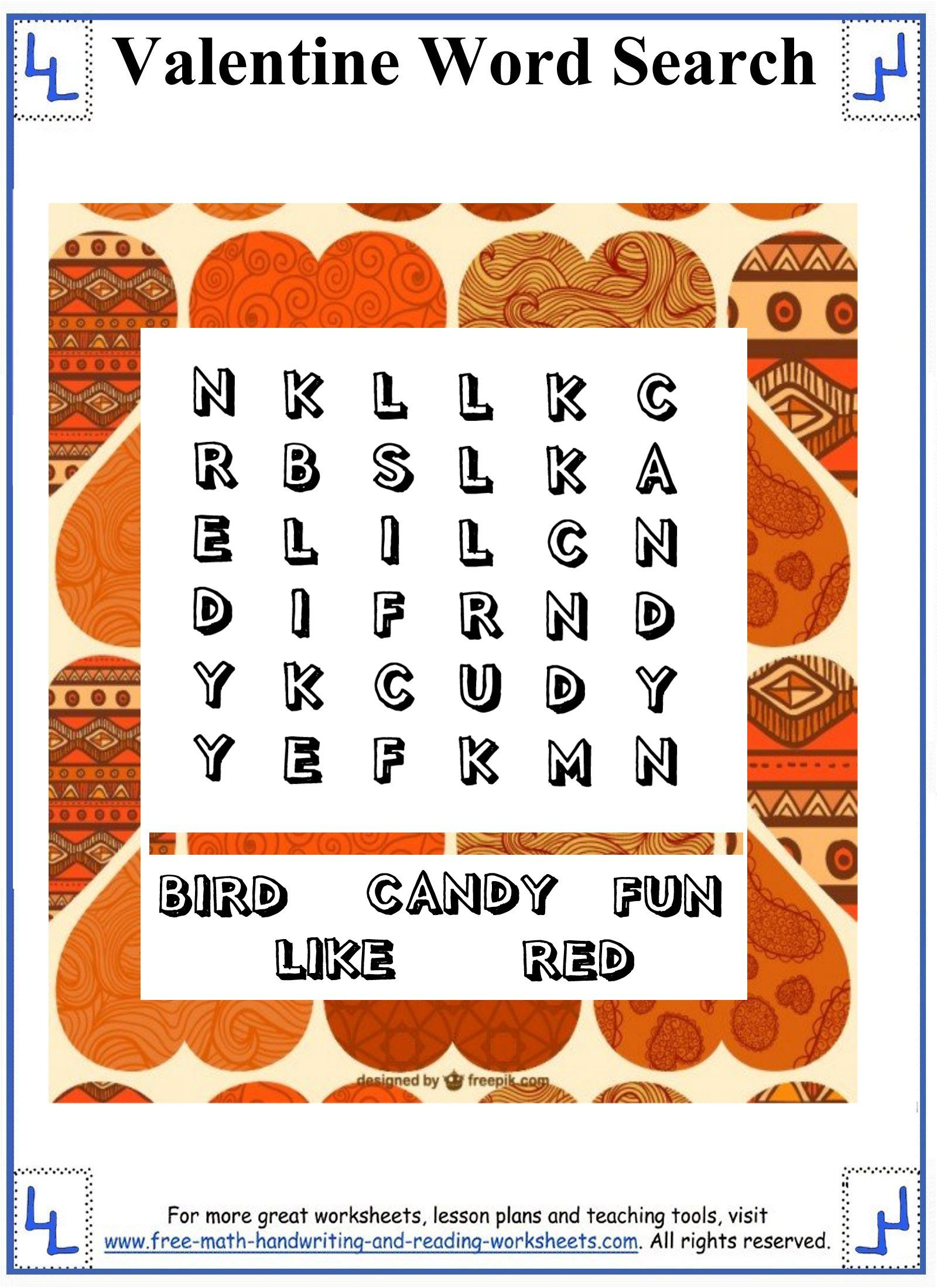 valentine word search printable puzzles small word search grid for pre k to 1st grade. Black Bedroom Furniture Sets. Home Design Ideas