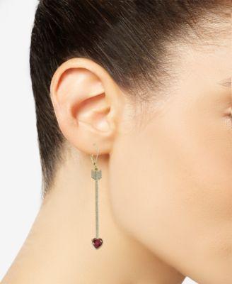 61f497bb2b70c Kate Spade Gold-Tone Crystal Heart Arrow Linear Drop Earrings ...