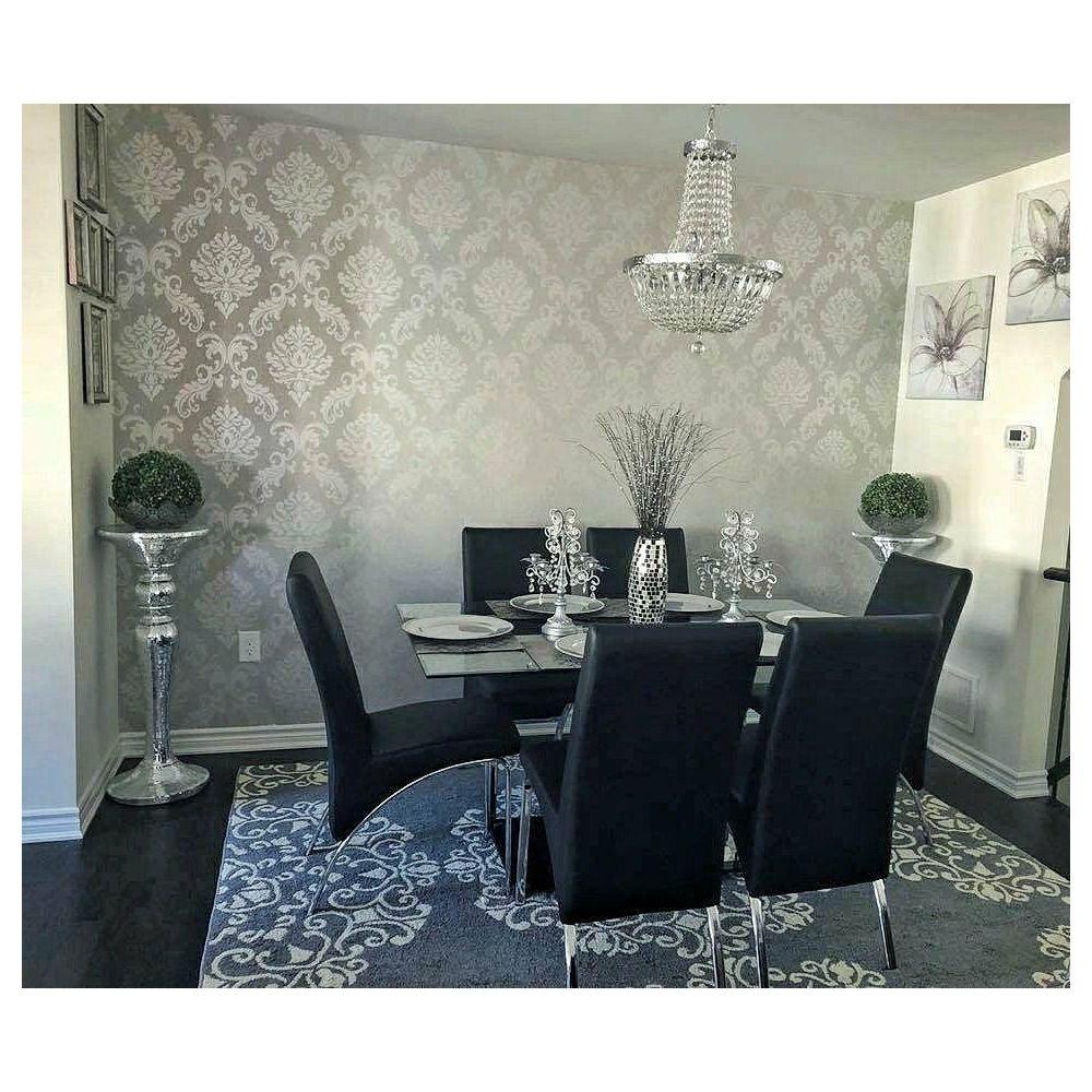 Chelsea Glitter Damask Wallpaper Soft Grey Silver Si
