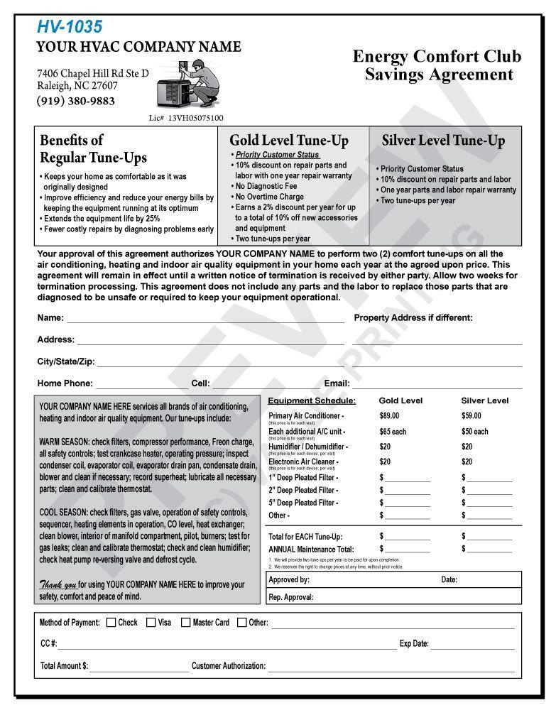 Free Hvac Maintenance Contract Template Fresh Hv 1035 Hvac