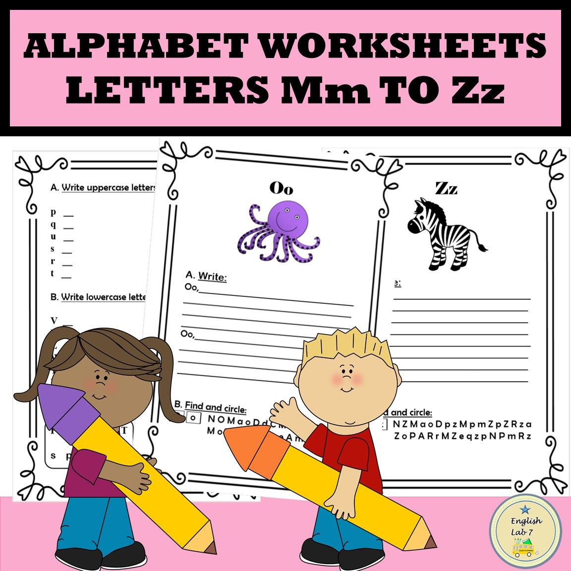 Alphabet Letters M To Z Writing Practice Worksheets