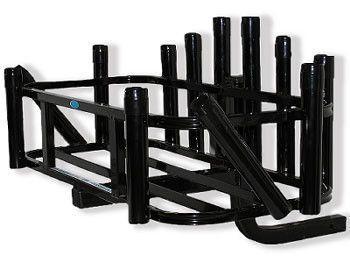 Rod Rack 12 Black Rod Holder Hitch Mount Reels On Wheels by CPI Designs