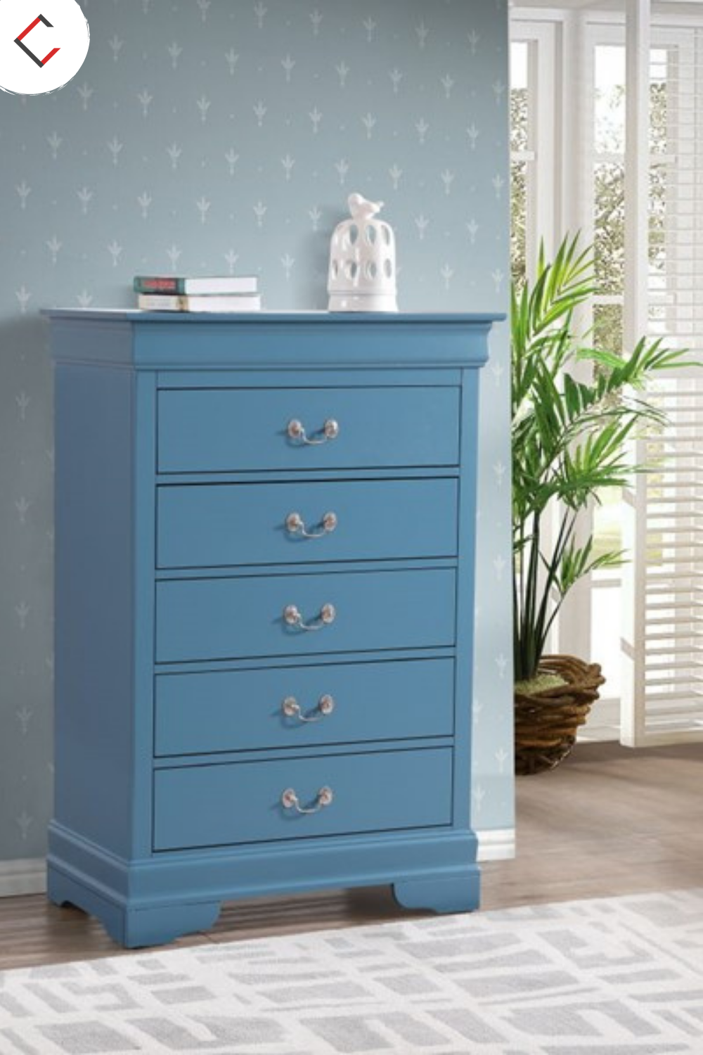 Assembled Bedroom Chest Is Finished In Real Wood Veneers Over Manufactured And Solid Wood. Drawers Move On Center Supported Metal Guides And Are Dovetailed Front And Back. Corner Blocks Are Utilized To Support Drawer Bottoms. Choose From A Variety Of Colors. #salvagedinspirations #paintedfurniture #diyfurniture #paintedsewingcabinet #sewingtable #furnituremakeover #dixiebellepaint #woodubend #singersewingmachine