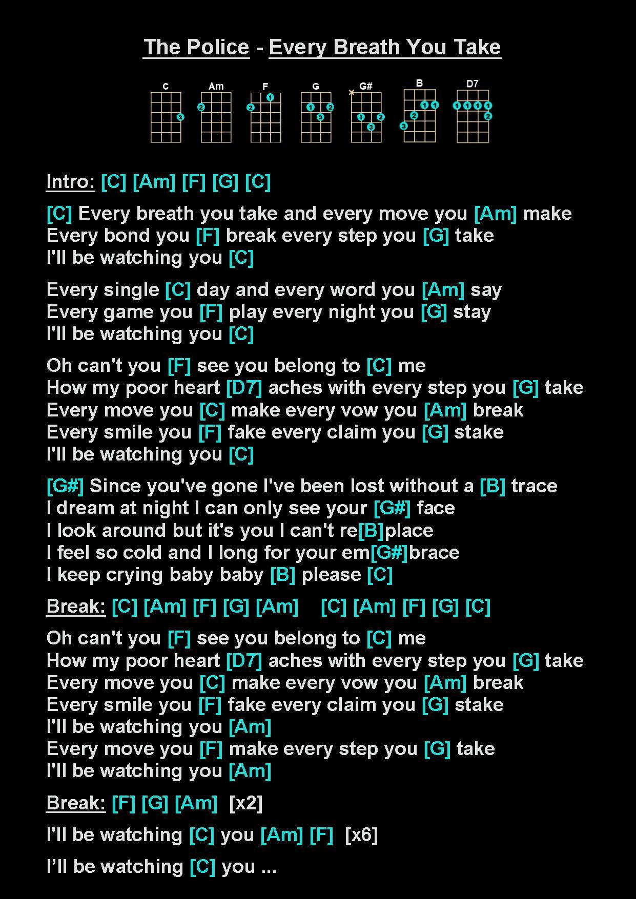 The Police Every Breath You Take B Ukulele Chords Songs Ukulele Songs Easy Ukulele Songs