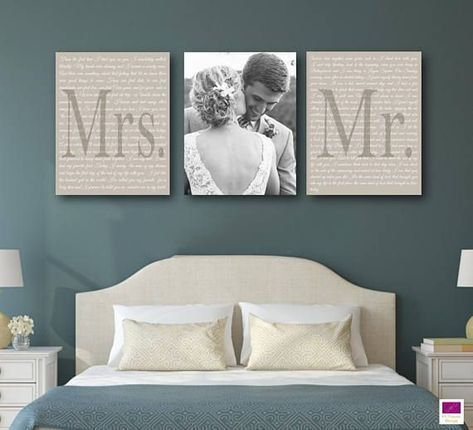 Set of 3 Wedding Vows Canvas, Anniversary Gift Canvas with photo, Black and Whit..., #Annive...